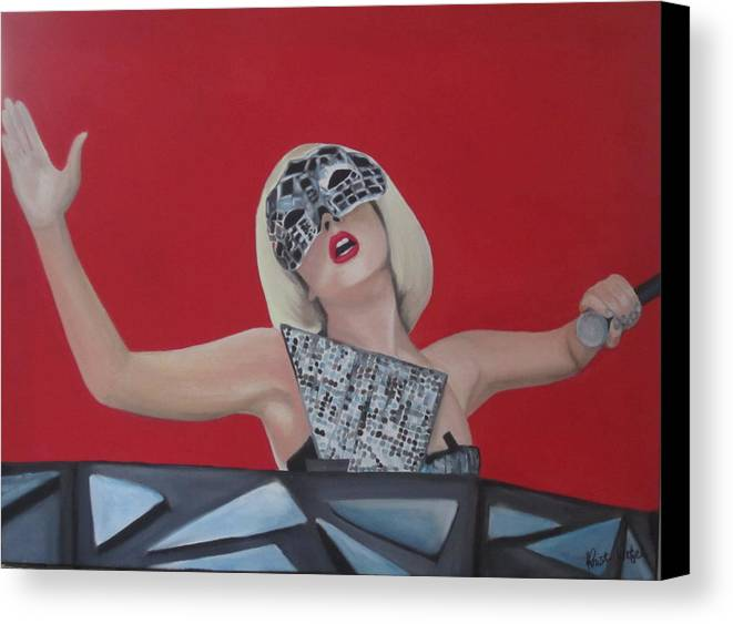 Mask Canvas Print featuring the painting Lady Gaga Poker Face by Kristin Wetzel