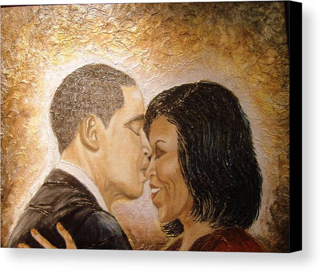Barack And Michelle Obama Canvas Print featuring the painting A Kiss For A Queen by Keenya Woods