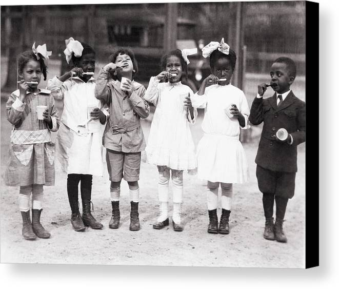 History Canvas Print featuring the photograph African American First Graders Learn by Everett