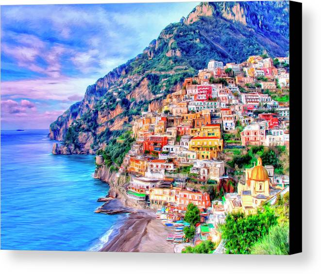 Amalfi Coast At Positano Canvas Print Canvas Art By