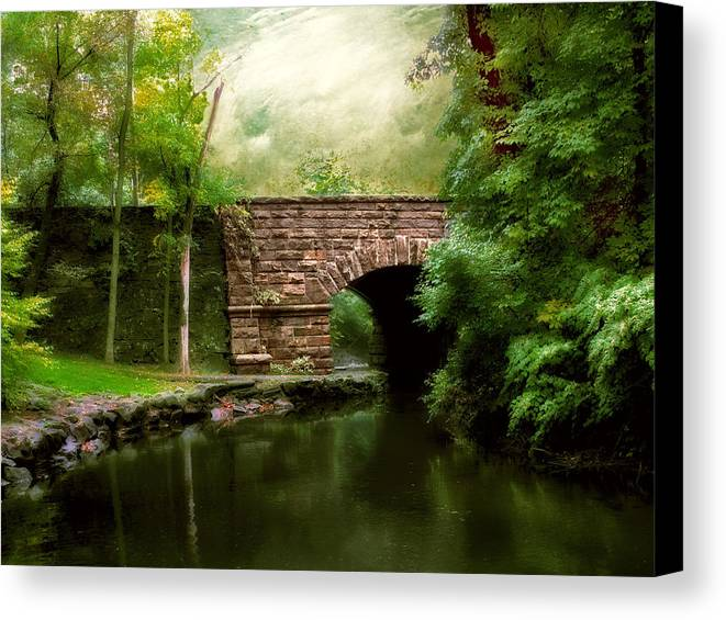 Old Countrybridge Green Art Canvas Print featuring the photograph Old Country Bridge by Jessica Jenney