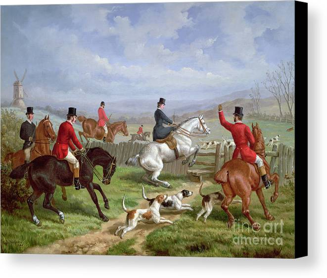 Over Canvas Print featuring the painting Over The Fence by Edward Benjamin Herberte
