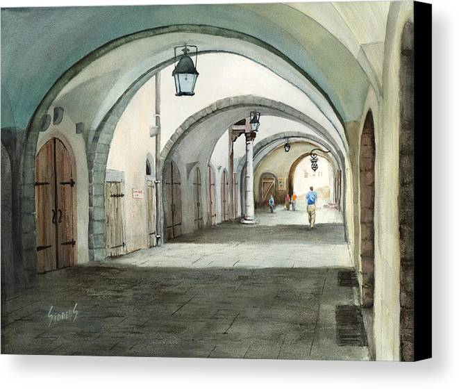 Germany Canvas Print featuring the painting Rothenburg Backstreet by Sam Sidders