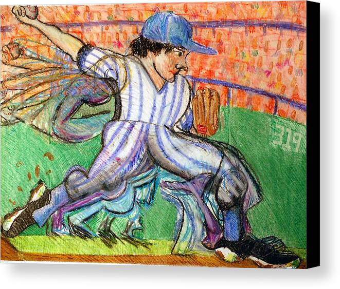 Baseball Canvas Print featuring the drawing Stride by Jame Hayes