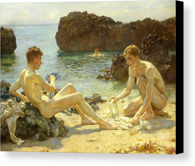 Nude Canvas Print featuring the painting The Sun Bathers by Henry Scott Tuke
