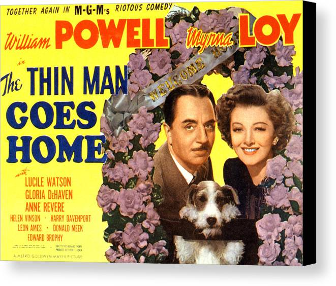 1940s Movies Canvas Print featuring the photograph The Thin Man Goes Home, William Powell by Everett