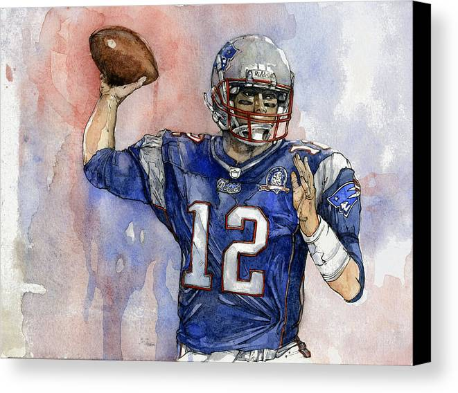 Patriots Canvas Print featuring the painting Tom Brady by Michael Pattison