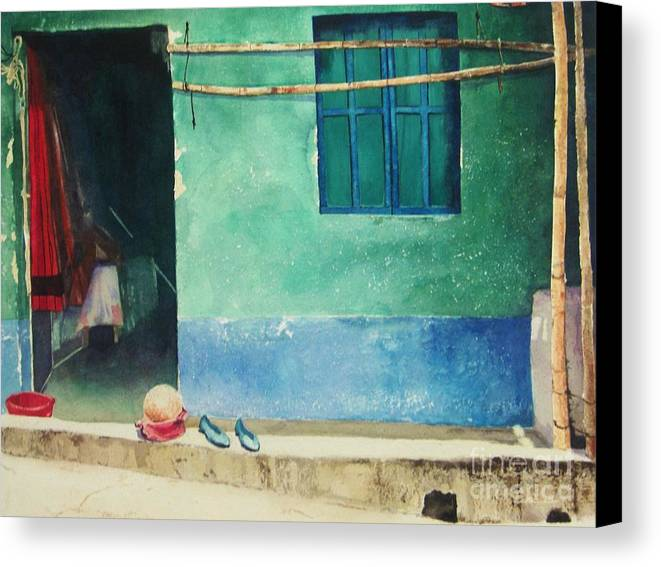 Guatemalan Home Canvas Print featuring the painting Two Shoes And A Melon by Elizabeth Carr