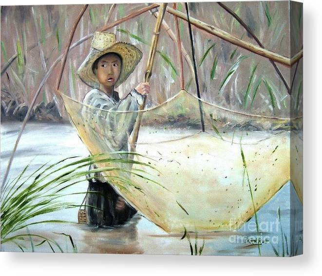 Young Thai Boy Net Fishing By Derek Rutt Canvas Print featuring the painting Young Thai Boy Net Fishing by Derek Rutt