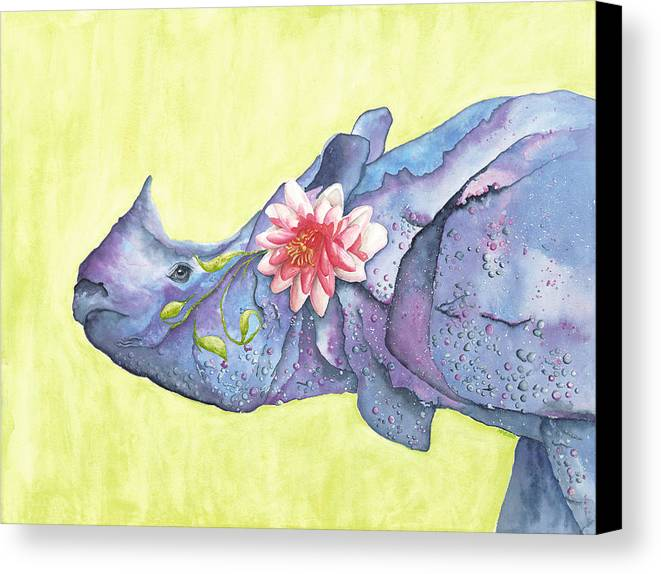 Rhino Canvas Print featuring the painting Rhino Whimsy by Mary Ann Bobko