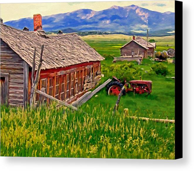 Montana Canvas Print featuring the painting Old Homestead Near Townsend Montana by Michael Pickett