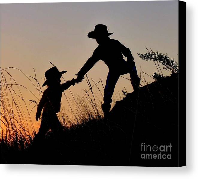 Cowboy Canvas Print featuring the photograph A Helping Hand by Carla Froshaug