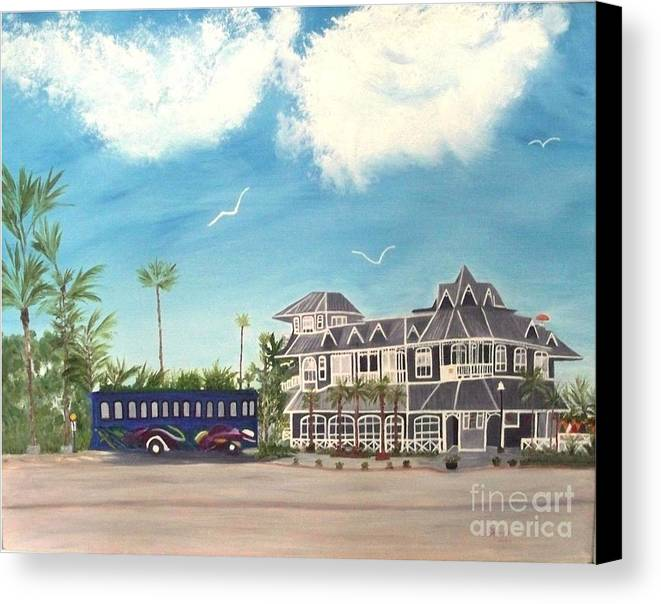 Florida Painting Canvas Print featuring the painting Hurricane Restaurant Pass A Grill Florida by Peggy Holcroft
