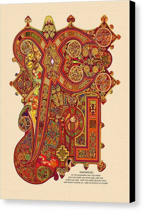 Book Of Kells Canvas Print featuring the digital art The New Chi Rho by Martin Brockhaus