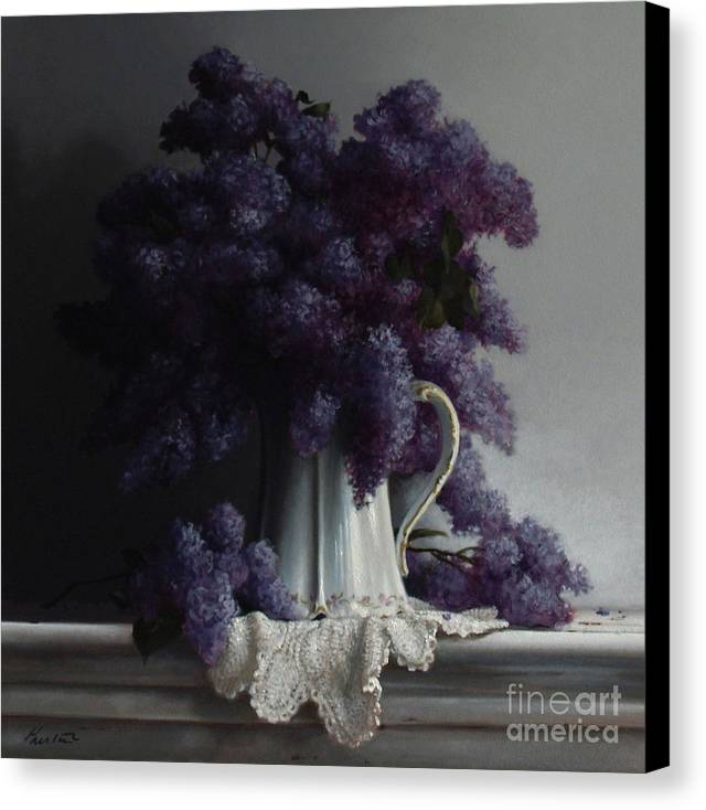Lilacs Canvas Print featuring the painting Lilacs Study No.2 2011 by Larry Preston