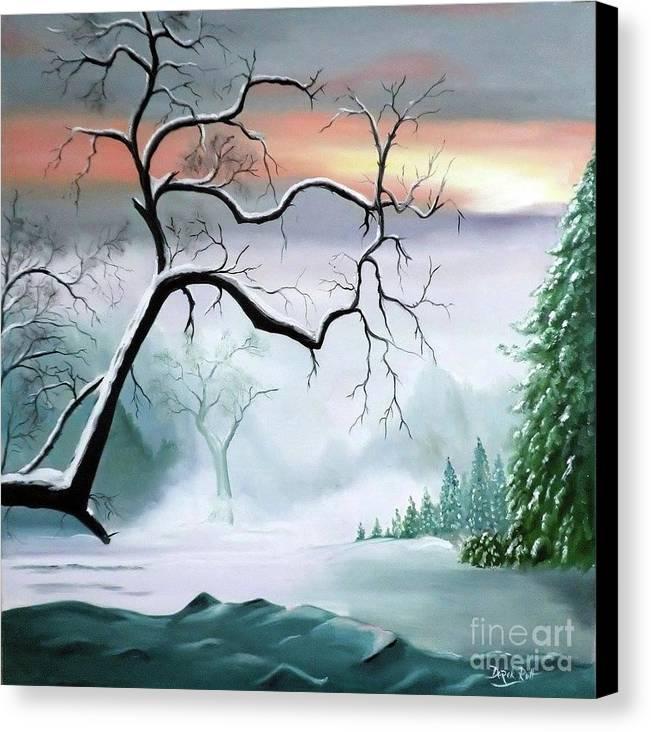 Winter Branches By Derek Rutt Canvas Print featuring the painting Winter Branches by Derek Rutt
