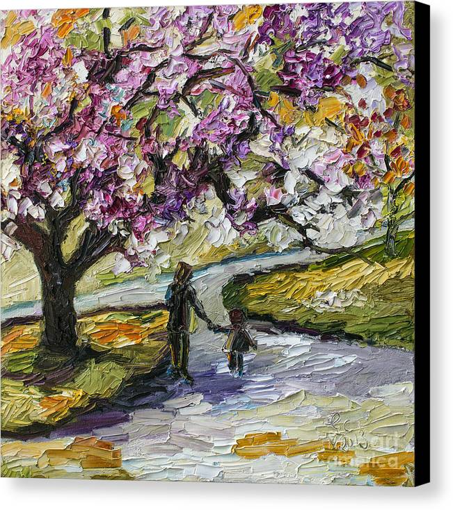 Trees Canvas Print featuring the painting Cherry Blossom Tree Walk In The Park by Ginette Callaway