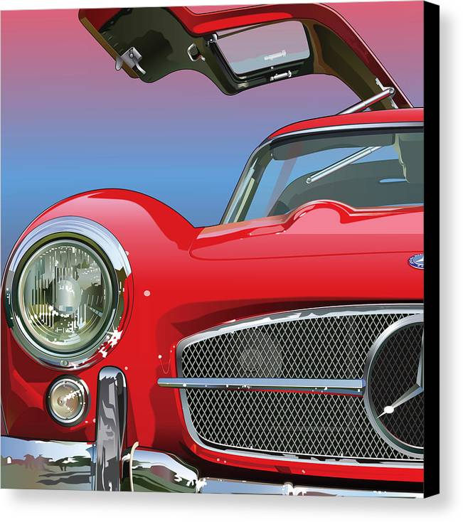 Automotive Art Canvas Print featuring the drawing Mercedes 300 Sl Gullwing Detail by Alain Jamar