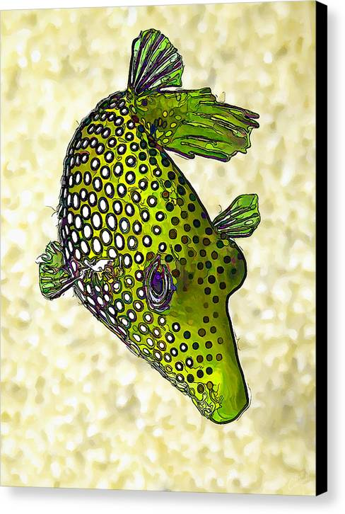 Nature Canvas Print featuring the digital art Guinea Fowl Puffer Fish In Green by Bill Caldwell -    ABeautifulSky Photography