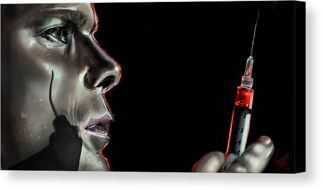 Dexter Canvas Print featuring the drawing Darkly Dreaming Dexter by Vinny John Usuriello