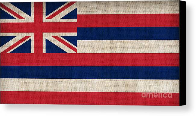 Hawaii Canvas Print featuring the painting Hawaii State Flag by Pixel Chimp