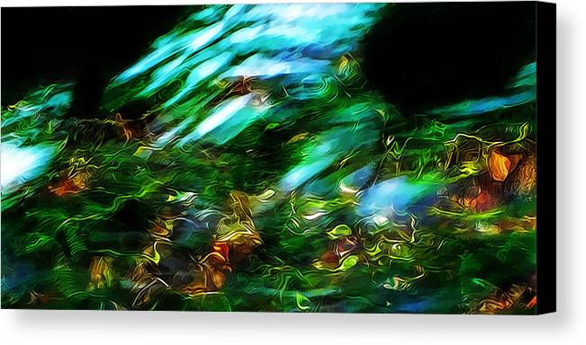 Refracted Lightl Macro Photography Canvas Print featuring the photograph Life On The Streambed by Terril Heilman