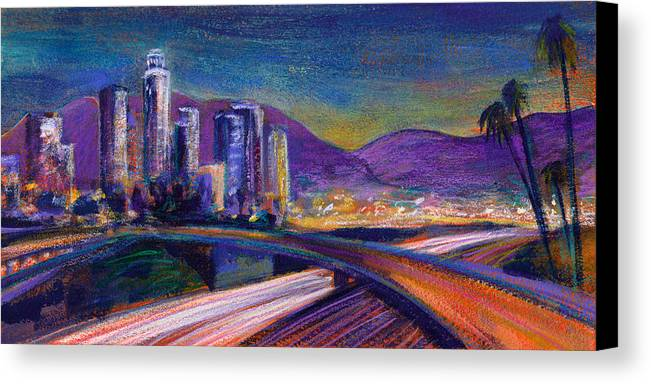 Downtown Canvas Print featuring the painting Light Up The Night by Athena Mantle