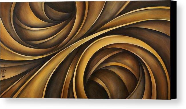Earth Tones Brown Ribbon Abstract Flowing Motion Canvas Print featuring the painting Abstract Design 34 by Michael Lang
