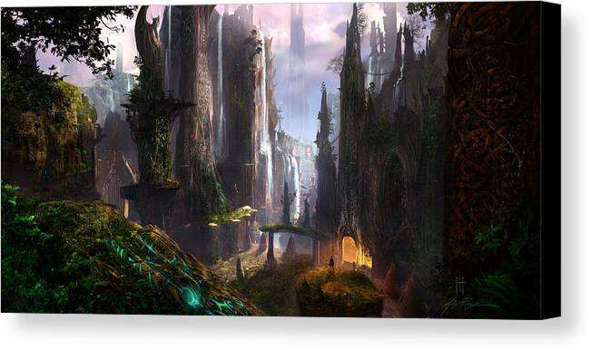 Concept Art Canvas Print featuring the digital art Waterfall Celtic Ruins by Alex Ruiz