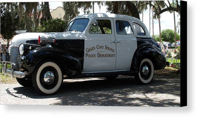 Police Canvas Print featuring the photograph P D Cruiser by Bob Johnson