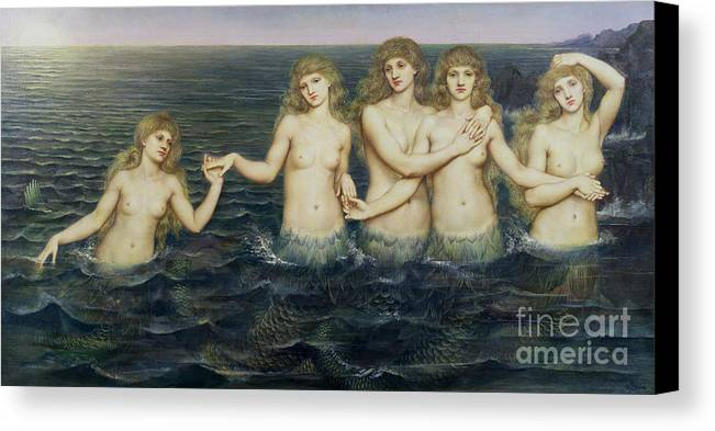 Fairy Tale; Pre-raphaelite; Sisters; Sea; Fish Tails; Breast; Nude; Mermaid; Mermaids; Five; 5 Canvas Print featuring the painting The Sea Maidens by Evelyn De Morgan