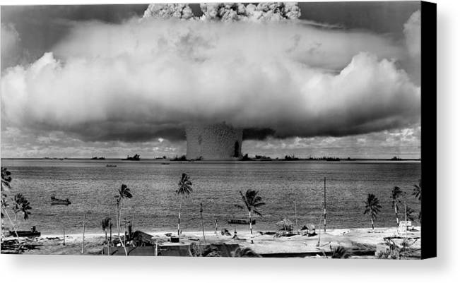 Atomic Canvas Print featuring the photograph Atomic Bomb Test by Mountain Dreams