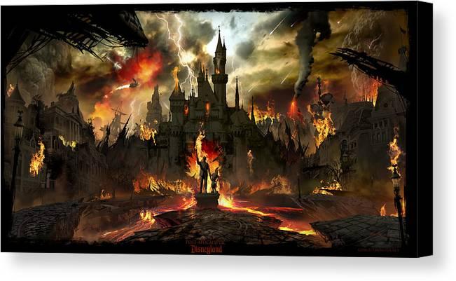 Disneyland Canvas Print featuring the digital art Post Apocalyptic Disneyland by Alex Ruiz