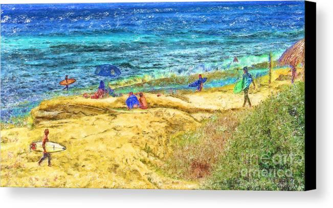 la Jolla Surfers Canvas Print featuring the mixed media La Jolla Surfing by Marilyn Sholin