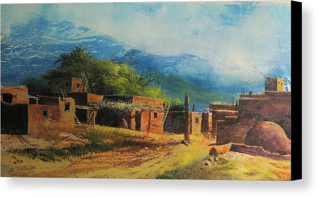 Landscape Canvas Print featuring the painting Southwest Village by Robert Carver