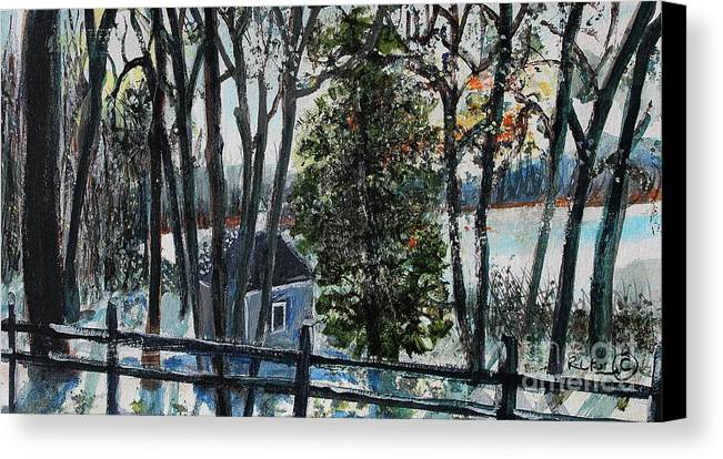 Walden Pond Canvas Print featuring the painting Out Of The Woods At Walden Pond by Rita Brown