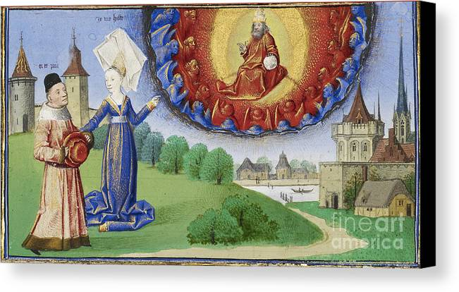 Boethius Canvas Print featuring the photograph Philosophy Instructs Boethius On God by Getty Research Institute