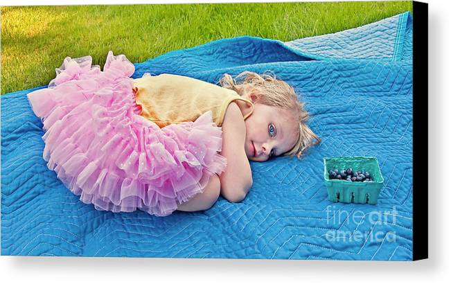 3 Year Old Girl Canvas Print featuring the photograph Summer Rest With Blueberries by Valerie Garner