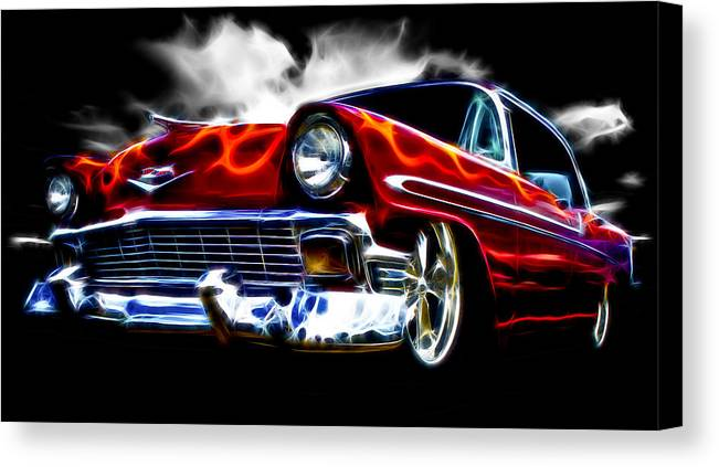 Red Street Rod Canvas Print featuring the photograph 1956 Flamin Chevrolet by Phil 'motography' Clark