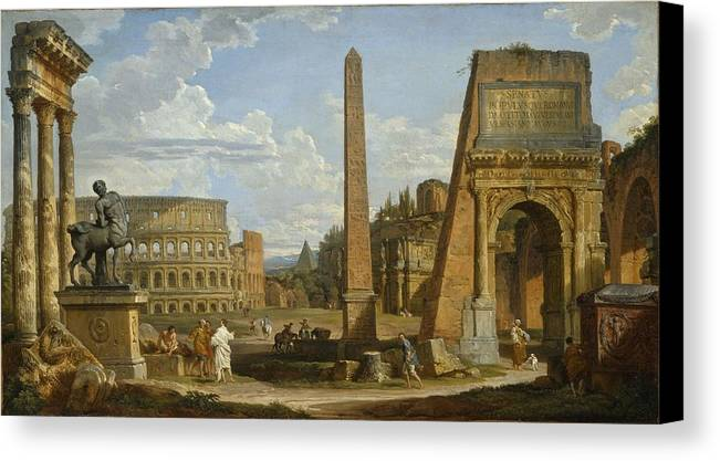Rome Canvas Print featuring the painting A Capriccio View Of Roman Ruins, 1737 by Giovanni Paolo Pannini or Panini