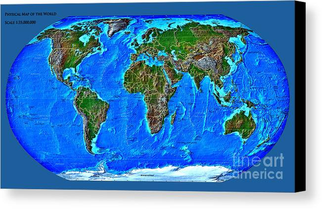 Physical Canvas Print featuring the digital art Physical Map Of The World by Theodora Brown