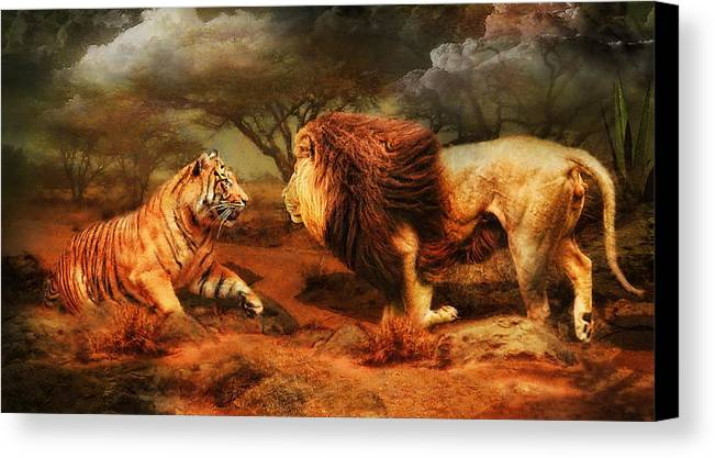 Lion Canvas Print featuring the photograph No Mercy by Trudi Simmonds