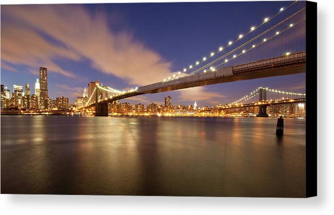 Horizontal Canvas Print featuring the photograph Brooklyn Bridge And Manhattan At Night by J. Andruckow