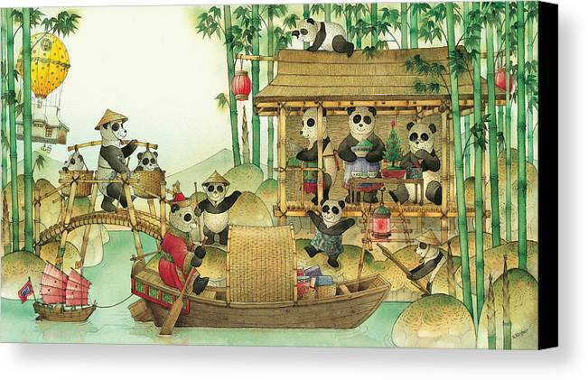 Christmas Greeting Cards Panda China Canvas Print featuring the painting Pandabears Christmas 03 by Kestutis Kasparavicius