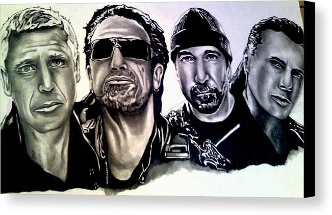 U2 Canvas Print featuring the drawing U2 by Pauline Murphy