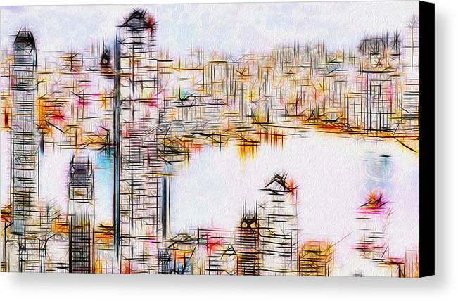 City Canvas Print featuring the painting City By The Bay by Jack Zulli