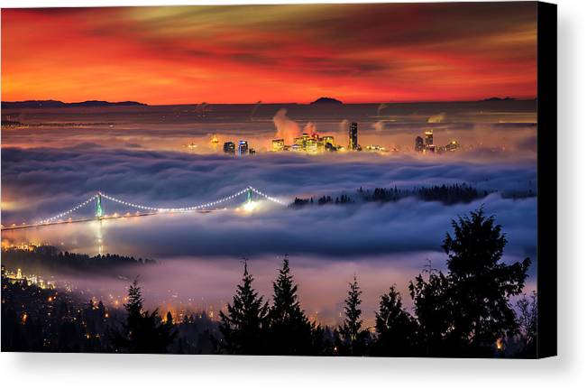 Skylines Canvas Print featuring the photograph Fog Inversion Over Vancouver by Alexis Birkill