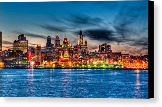 Photography Canvas Print featuring the photograph Sunset Over Philadelphia by Louis Dallara
