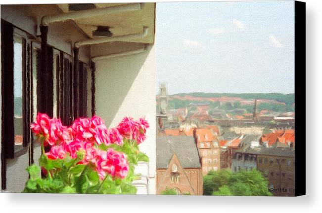 Aarhus Canvas Print featuring the painting Flowers On The Balcony by Jeff Kolker