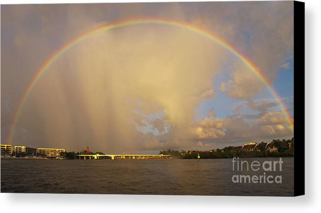 Rainbow Canvas Print featuring the photograph Rainbow Jupiter Inlet by Bruce Bain